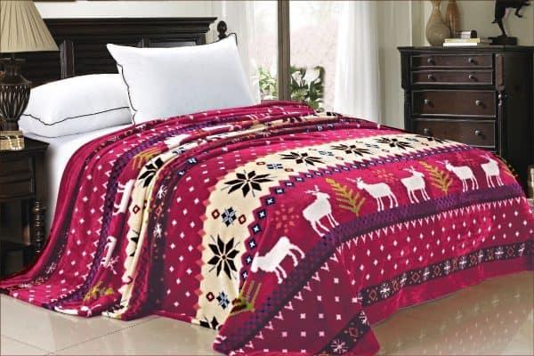 Snowflake deer Christmas blanket