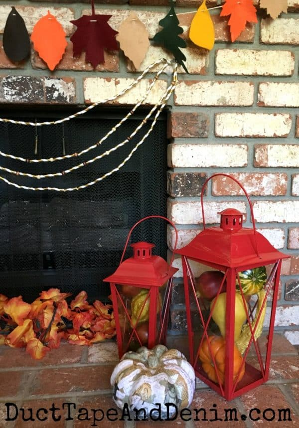 Thanksgiving mantel hearth fall decor | DuctTapeAndDenim.com