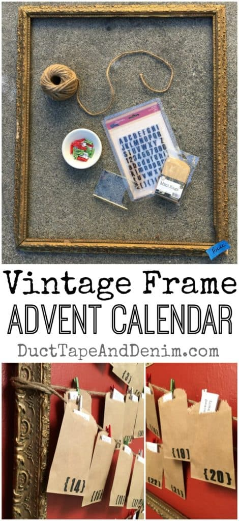 Vintage frame Advent calendar. More DIY Advent calendars and Christmas decor ideas on DuctTapeAndDenim.com