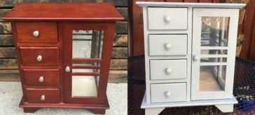 Before and after thrift store jewelry cabinet makeover with paint sprayer | DuctTapeAndDenim.com