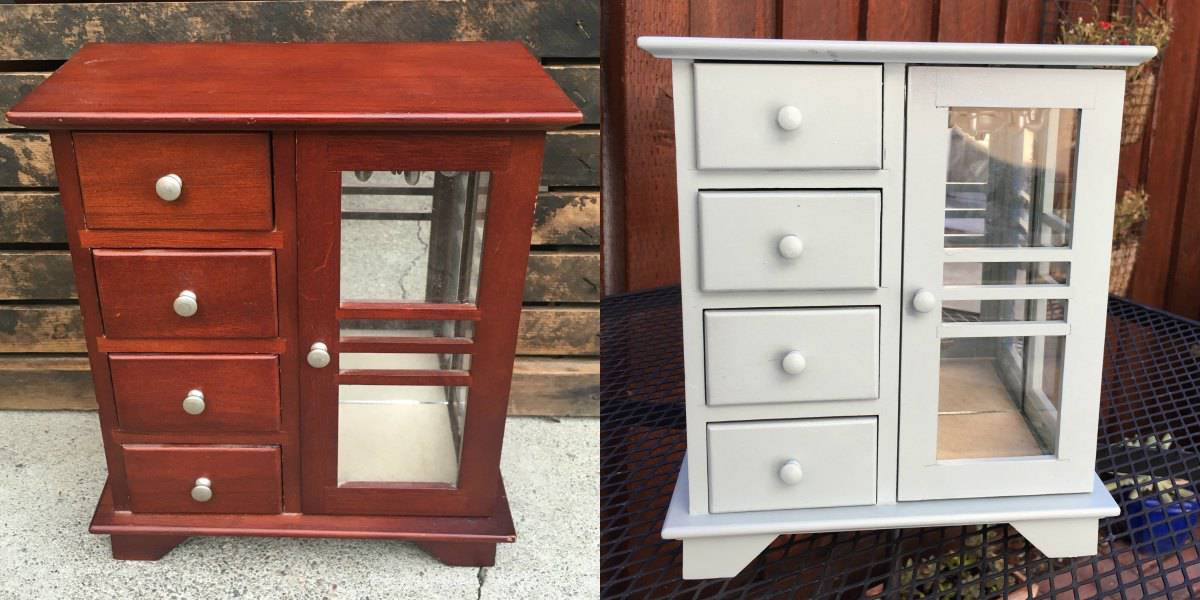 Jewelry Cabinet Makeover with my New Paint Sprayer