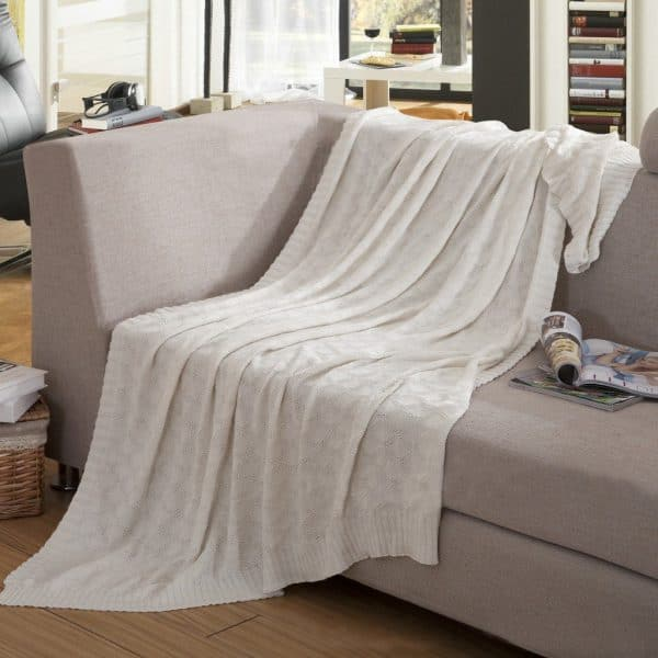 Cream cotton soft knit throw blanket