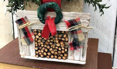DIY Farmhouse Fireplace Christmas Ornament   12DoC, Day Six