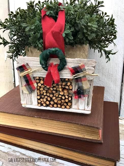 Farmhouse fireplace Christmas ornament. See 12 days of vintage, upcycled, recycled, and repurposed Christmas ornaments on DuctTapeAndDenim.com