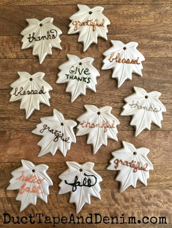 Finished DIY Thanksgiving leaf ornaments | DuctTapeAndDenim.com