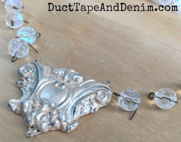 Paper clay pendant, clear glass beads for necklace | DuctTapeAndDenim.com