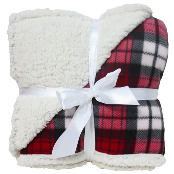 Cozy plaid sherpa throw