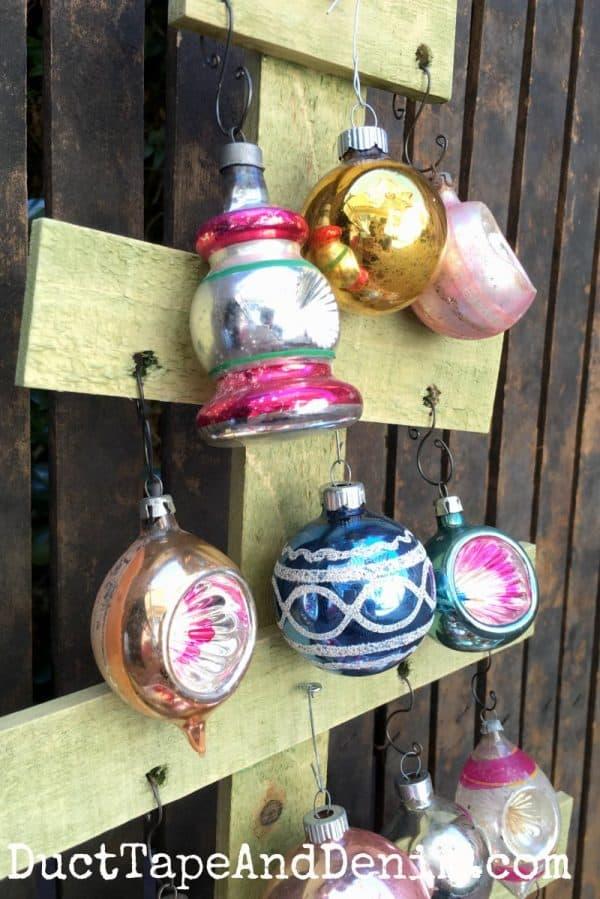 Shiny Brite ornaments on wood Christmas tree | DuctTapeAndDenim.com