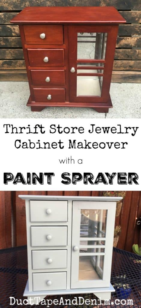 Thrift store jewelry cabinet makeover with paint sprayer | DuctTapeAndDenim.com