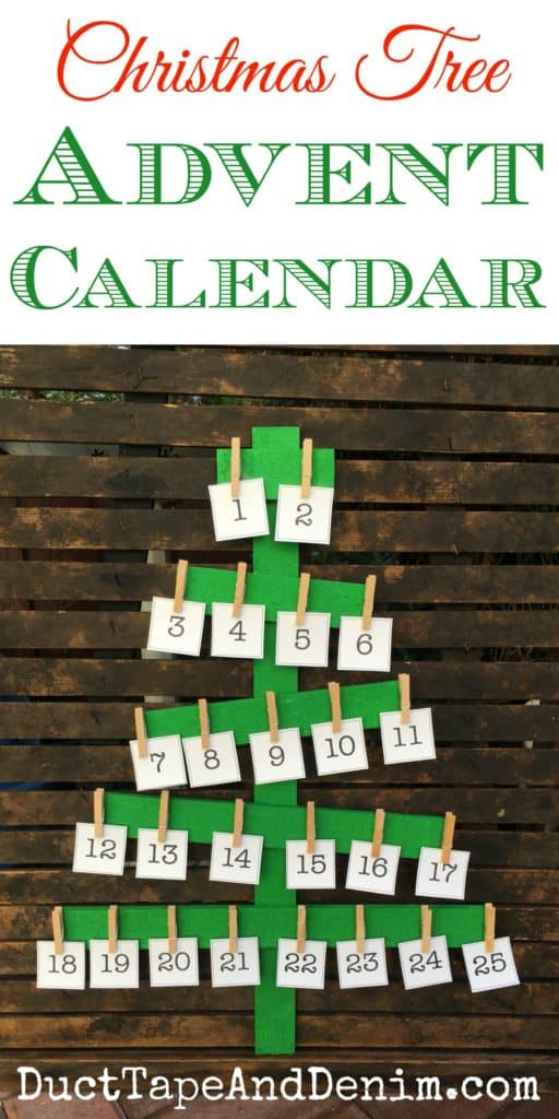 Rustic wood Christmas tree Advent calendar tutorial and printable number cards on DuctTapeAndDenim.com