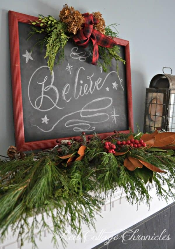 DIY Christmas chalkboard sign. More 12 Days of Christmas craft projects on DuctTapeAndDenim.com