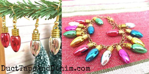 DIY Christmas lights earrings, bracelet, & jewelry. More DIY & handmade gift ideas on DuctTapeAndDenim.com