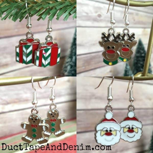 DIY Enameled Christmas earrings. Handmade gift ideas on DuctTapeAndDenim.com