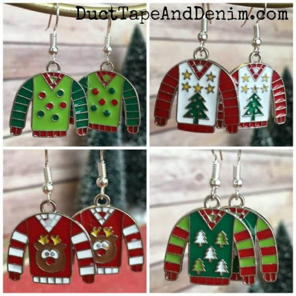 DIY ugly Christmas sweater earrings | DuctTapeAndDenim.com