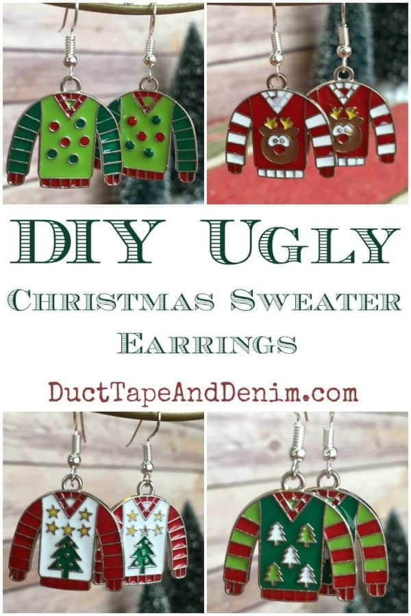 DIY Ugly Christmas Sweater Earrings, tutorial for more Christmas jewelry on DuctTapeAndDenim.com