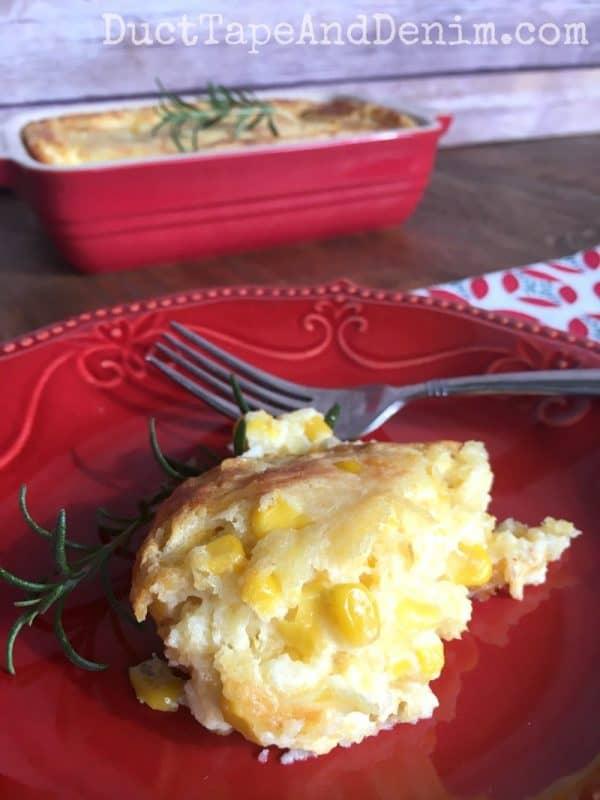 GG's corn pudding recipe. More easy family favorite recipes on DuctTapeAndDenim.com