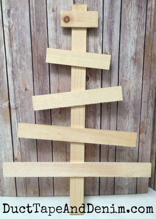 BEFORE painting green. My rustic wood Christmas tree Advent calendar. Tutorial on DuctTapeAndDenim.com