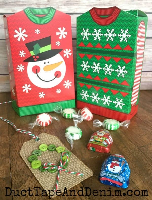 Ugly Christmas sweater gift boxes and chocolate candy | DuctTapeAndDenim.com