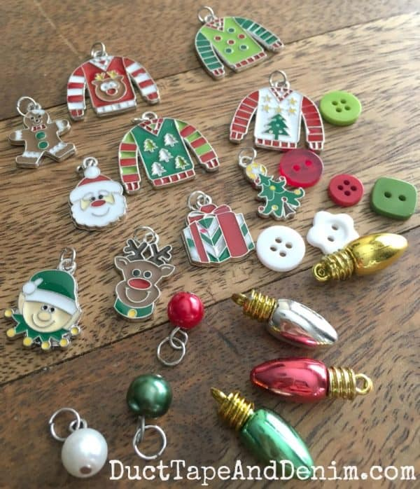 Ugly Christmas sweater jewelry supplies. Tutorial on DuctTapeAndDenim.com