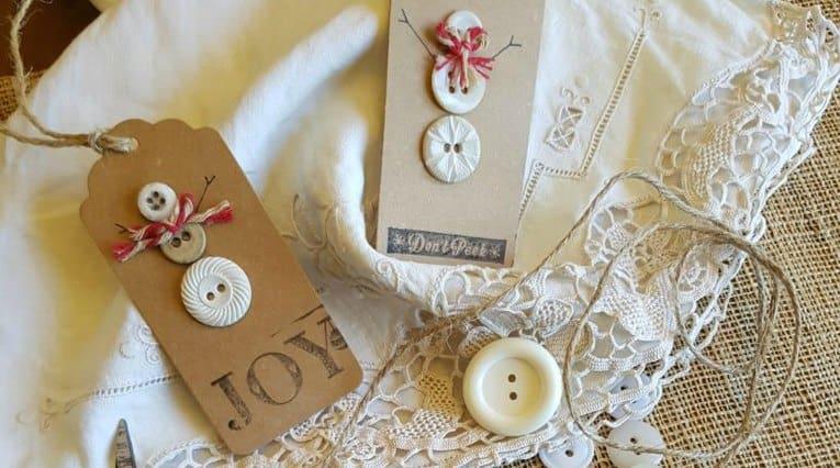 Vintage Button Snowman Christmas Gift Tags | 12DoC, Day Nine