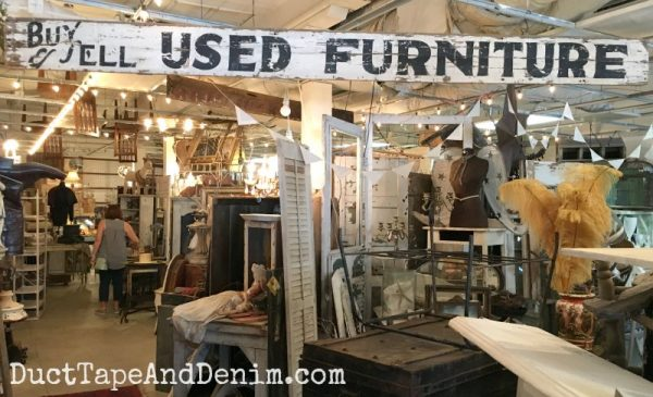 Vintage used furniture sign at Tumbleweed and Company | DuctTapeAndDenim.com