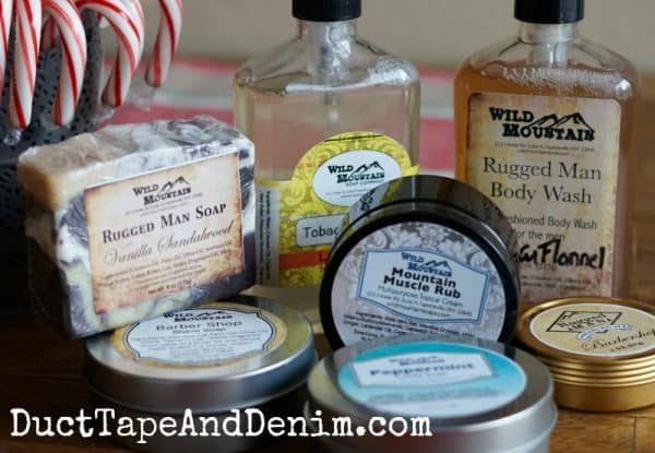 Wild Mountain Soap Company, Rugged Man soaps, beard oil, body wash, shampoo, and more! Our stocking stuffers. Christmas gifts. DuctTapeAndDenim.com