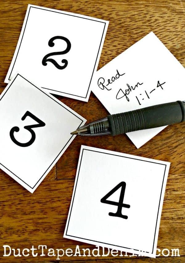 Advent calendar number cards, free printable on DuctTapeAndDenim.com