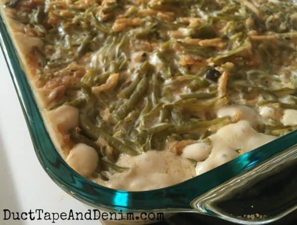 Classic green bean casserole after baking | DuctTapeAndDenim.com