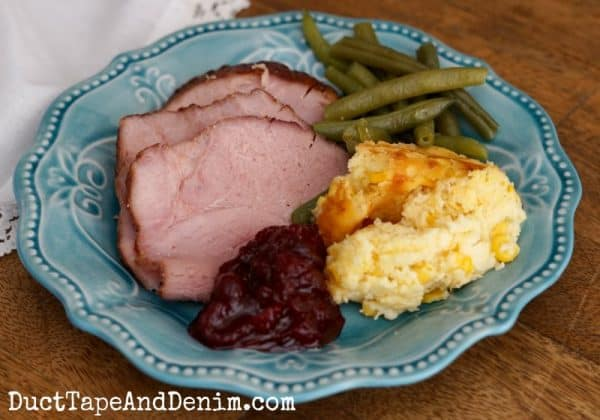 Cranberry orange ham, corn pudding, green beans, and cranberry sauce | DuctTapeAndDenim.com