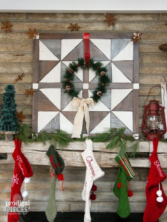 DIY barn wood quilt for the perfect rustic farmhouse Christmas mantel! See more DIY Christmas decoration ideas on the 12 Days of Vintage, Upcycled, Recycled, and Repurposed Christmas | DuctTapeAndDenim.com