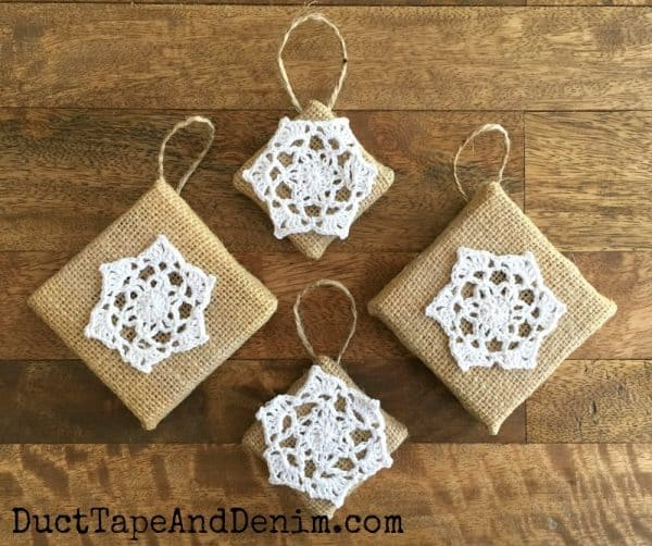 Finished DIY burlap and doily Christmas ornaments. Tutorial on DuctTapeAndDenim.com
