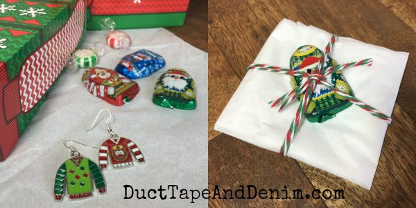 Wrapping ugly christmas sweater earrings | DuctTapeAndDenim.com