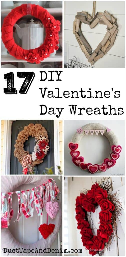 17 DIY Valentine's Day Wreaths on DuctTapeAndDenim.com