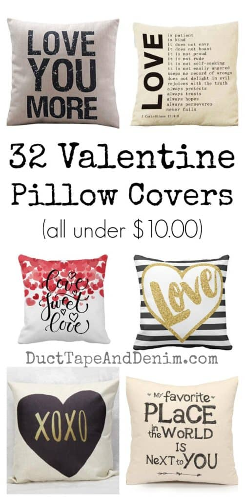 32 Valentine pillow covers all under $10.00 | DuctTapeAndDenim.com