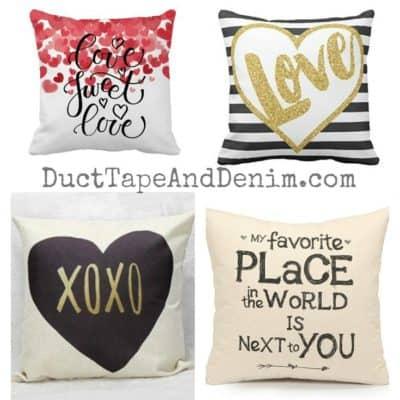 32 Valentine pillow covers all under $10.00 | DuctTapeAndDenim.com