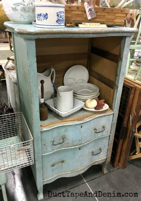 Aqua cabinet at Junk Bonanza Portland | DuctTapeAndDenim.com