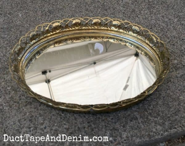 BEFORE painting thrift store vintage mirror tray DuctTapeAndDenim.com