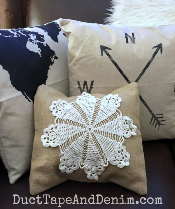 Canvas Corp doily burlap pillow cover DIY