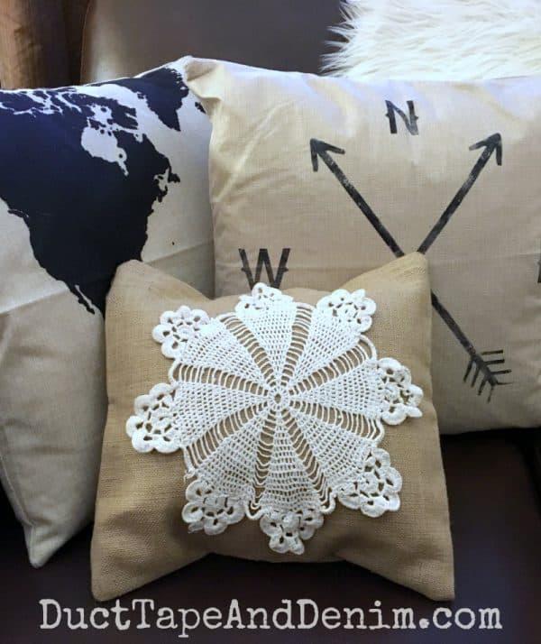 Canvas Corp doily burlap pillow cover DIY | DuctTapeAndDenim.com