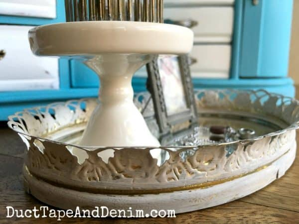 Close up, thrift store mirror tray makeover on DuctTapeAndDenim.com
