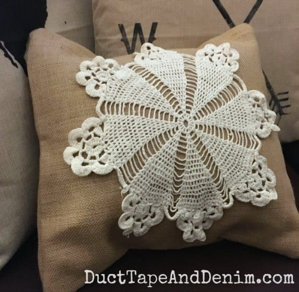 DIY burlap and doily throw pillow
