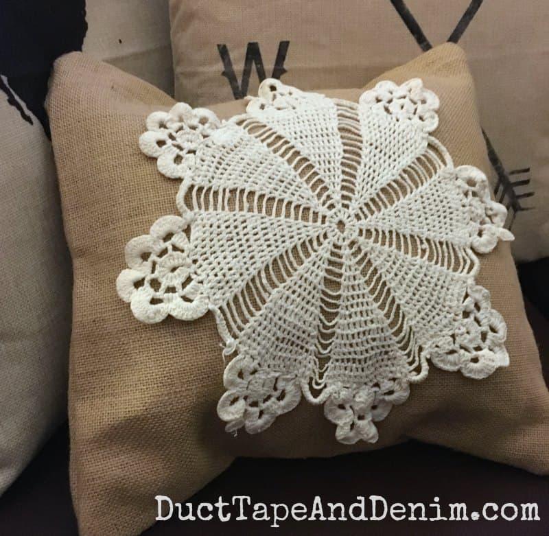 DIY Doily Burlap Pillow Cover | 15 Minute Home Decor Idea