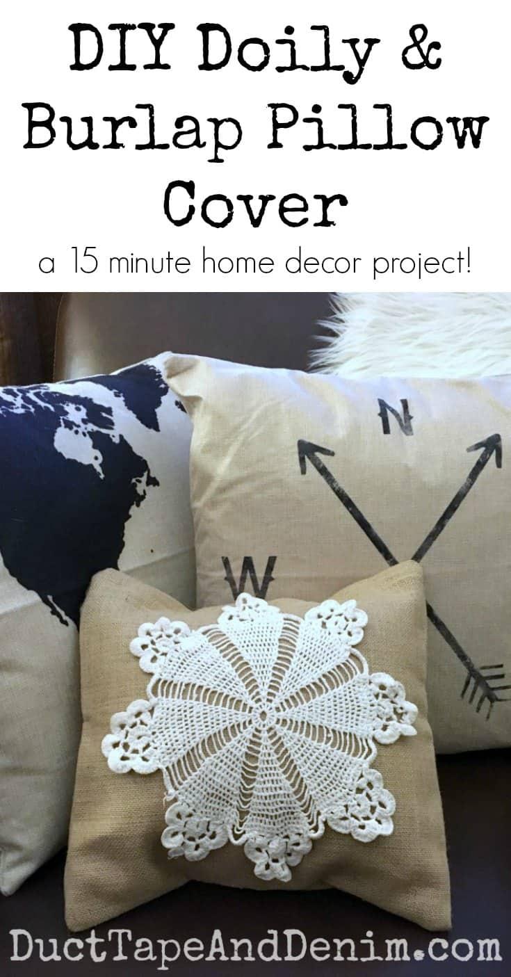DIY doily and burlap pillow cover
