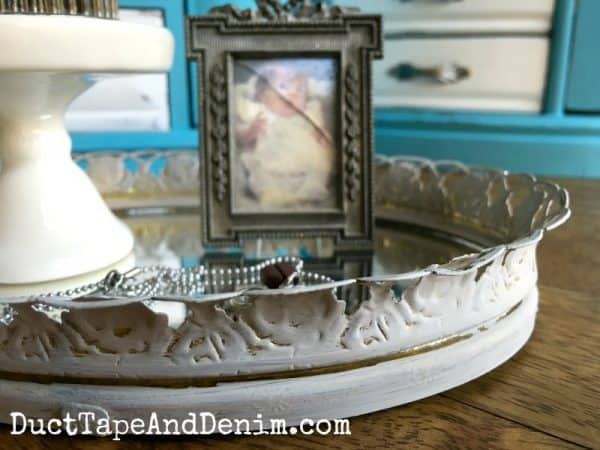 Detail, thrift store mirror tray makeover