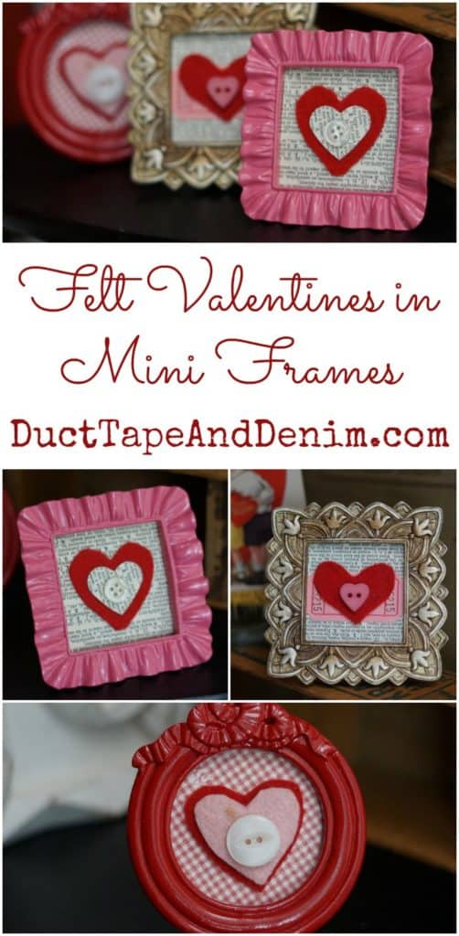 Felt Valentines in Mini Frames. More DIY easy Valentine's Day crafts on DuctTapeAndDenim.com