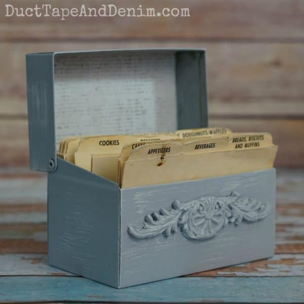 Finished vintage metal recipe box makeover. Thrift store to kitchen! DuctTapeAndDenim.com