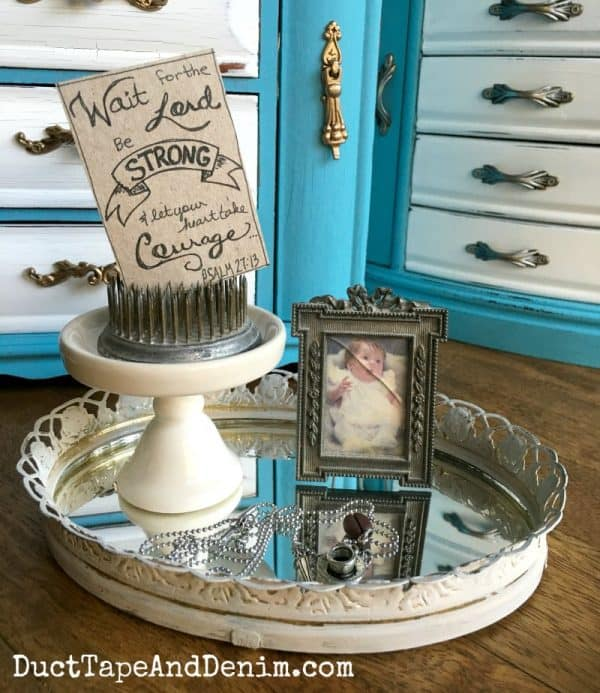 Finished vintage mirror tray makeover on DuctTapeAndDenim.com