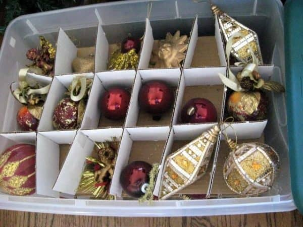 January Christmas ornament storage