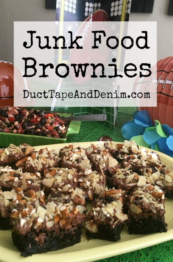 Junk Food Brownies with potato chips and pretzels, Football food for the Big Game | DuctTapeAndDenim.com