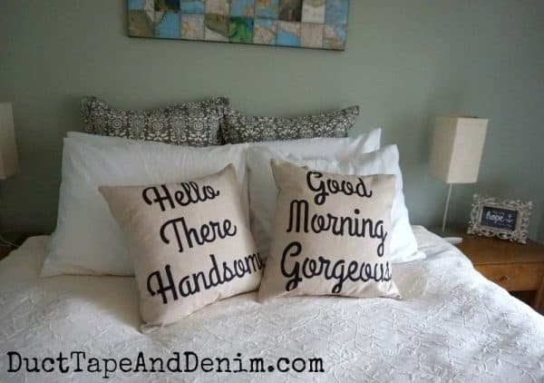 Our new pillows with Hello There Handsome and Good Morning Gorgeous throw pillows | DuctTapeAndDenim.com